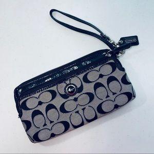 Coach Silver Signature Zippered Wristlet Wallet